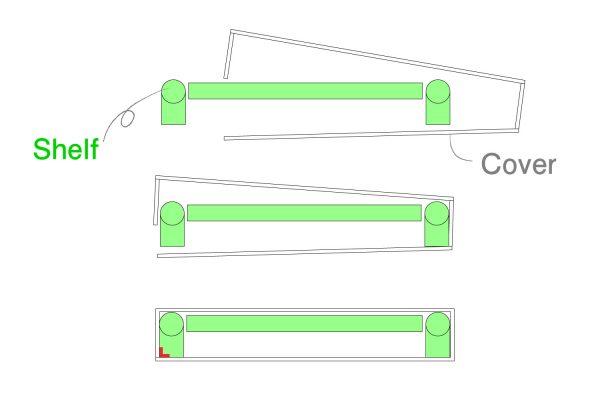 突っ張り棚にカバーをつける(断面図)
