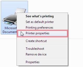 Select Printer Properties