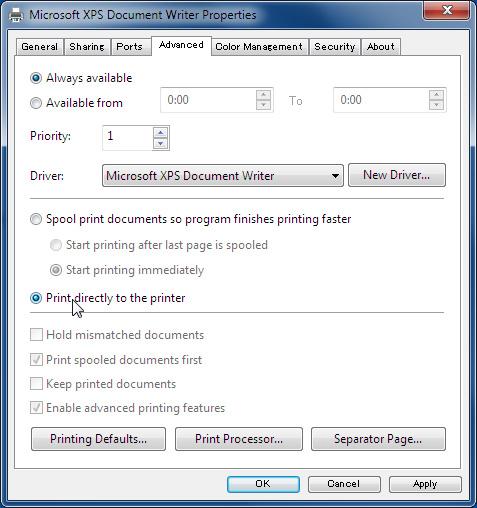 Advanced Setting (Printer Properties)
